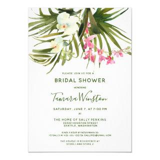 Tropical Beach Greenery Pink Floral Bridal Shower Invitations