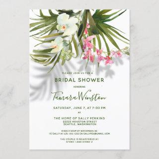 Tropical Beach Greenery Pink Floral Bridal Shower