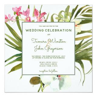 Tropical Beach Greenery Pink Floral White Orchids Invitation