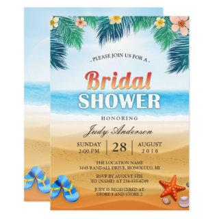 Tropical Beach Hawaiian Summer Bridal Shower Invitation