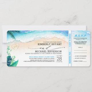 Tropical Beach Heart Shore Wedding Boarding Pass Invitations