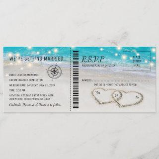 Tropical Beach Heart Wedding Ticket with RSVP Invitations