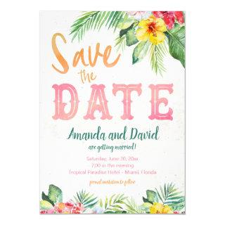 Tropical Beach Hibiscus and Flamingo Save the Date Invitations