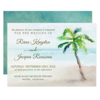 Tropical Beach Palm Tree Watercolor Wedding Invitations