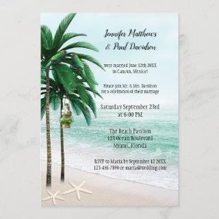 Tropical Beach Palm Trees Post Wedding Party Invitations