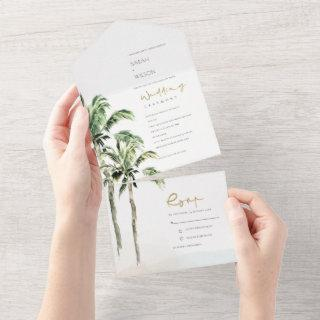 Tropical Beach Palm Trees Watercolor Wedding All In One