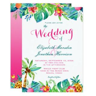 Tropical Beach Pink Teal Floral Ombre Wedding Invitation