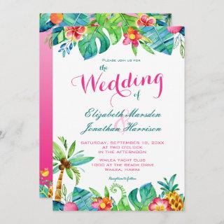 Tropical Beach Pink Teal Floral Ombre Wedding Invitations