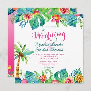 Tropical Beach Pink Teal Floral Ombre Wedding