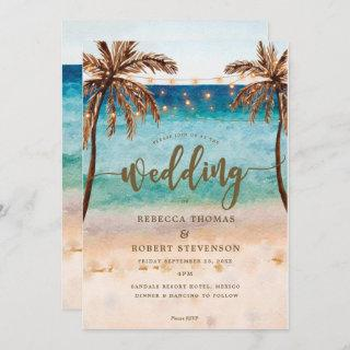 tropical beach scene modern wedding Invitations