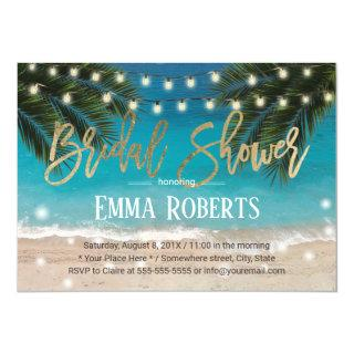 Tropical Beach String Lights Bridal Shower Invitation