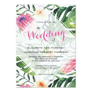 Tropical Beach Wedding Pink Protea Floral Greenery Invitations
