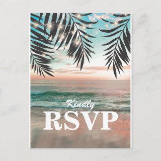 Tropical Beach Wedding RSVP | String of Lights Invitations Postcard
