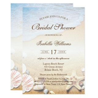 Tropical Beach Wedding Starfish Bridal Shower Invitations