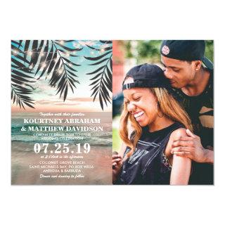 Tropical Beach Wedding | String of Lights Photo Invitation