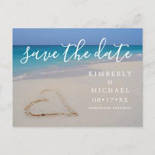 Tropical Beach with Sand Heart Save the Date Announcement Postcard