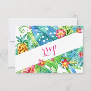 Tropical Berry Pink Teal Floral Beach Wedding RSVP Card