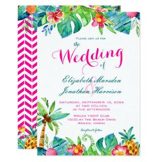 Tropical Berry Pink Teal Floral Chevron Wedding Invitation
