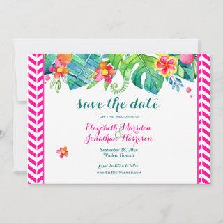 Tropical Berry Pink Teal Floral Chevron Wedding Save The Date