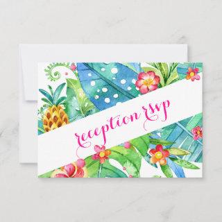 Tropical Berry Pink Teal Floral Reception RSVP Card