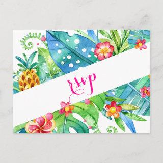 Tropical Berry Pink Teal Floral Wedding Invitations Postcard