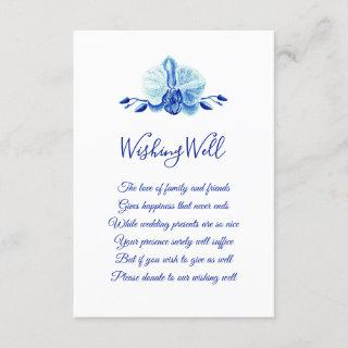 Tropical Blue Orchid Wedding Wishing Well Enclosure Card
