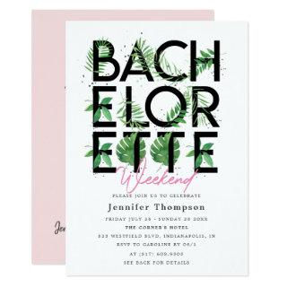 Tropical Blush Flamingo Bachelorette Weekend Invitations