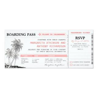 tropical boarding pass wedding tickets with RSVP Invitations