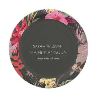 Tropical Boho Dark Lively Red Blush Floral Wedding Paper Plate