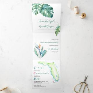 Tropical Botanical All In One Watercolor Map Tri-Fold