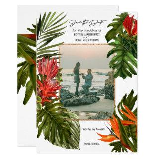 Tropical Breeze Lush Botanical Photo Save the Date Invitation