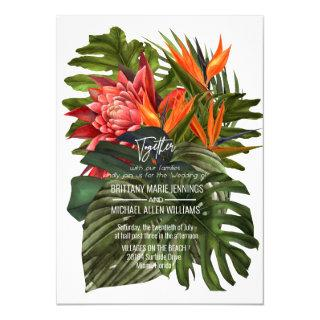 Tropical Breeze Lush Botanical Wedding Invitation