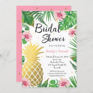 Tropical Bridal Shower , Gold Pineapple