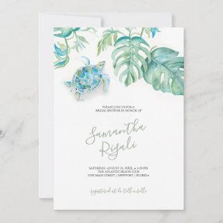 Tropical Bridal Shower Invitations Sea Turtle