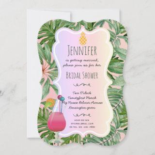 Tropical BRIDAL SHOWER Pineapple Palm Leaves PINK Invitation