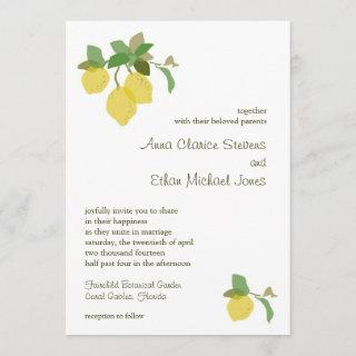 Tropical Citrus Wedding Invitations