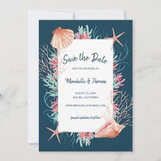 Tropical Coral Reef | Navy Blue Beach Seashells Save The Date