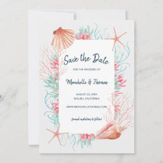 Tropical Coral Reef | Watercolor Beach Seashells Save The Date