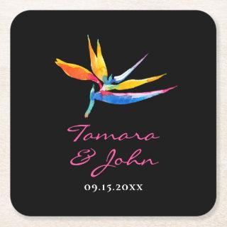 Tropical Dark Floral Bird of Paradise Wedding Square Paper Coaster