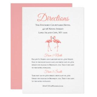 Tropical Details Directions Pink Flamingo Wedding Invitations
