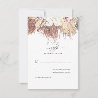 Tropical Dried Palm Leaves and White Orchids RSVP Card