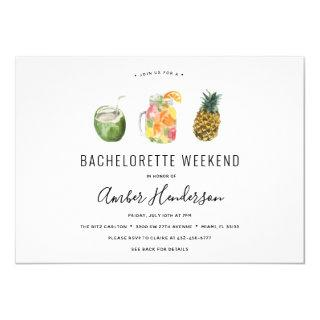 Tropical Drinks Bachelorette Itinerary Invitations