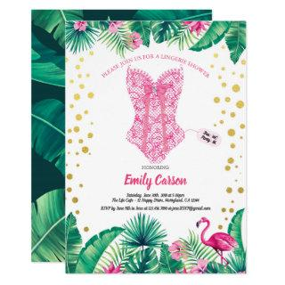 Tropical flamingo lingerie shower bridal party Invitations