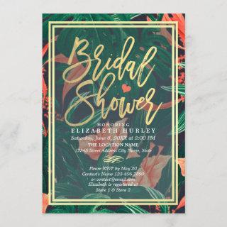 Tropical Floral Gold Frame Hawaiian Bridal Shower Invitation