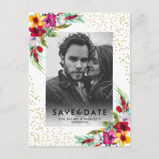 Tropical Floral Gold Photo Wedding Save the Date Invitations Postcard