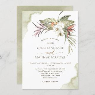 Tropical Floral Green Dried Palm Leaves Wedding