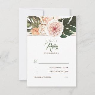 Tropical Floral Palm Leaves Wedding RSVP