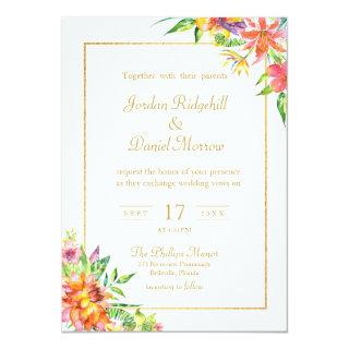 Tropical Floral Watercolor Chic Summer Wedding Invitations