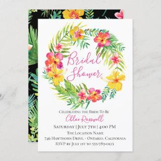 Tropical Floral Wreath Bridal Shower Invitation