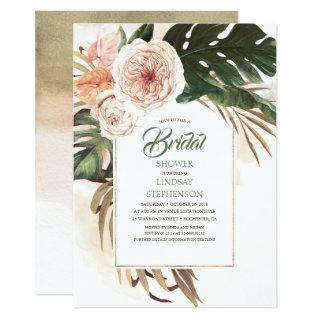 Tropical Flowers and Dried Palm Leaf Bridal Shower Invitations